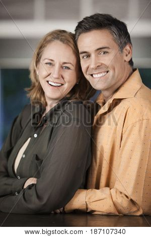 Smiling Caucasian couple
