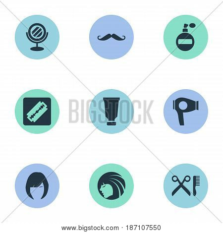 Vector Illustration Set Of Simple Barber Icons. Elements Whiskers, Shaver, Barber Tools And Other Synonyms Glass, Bottle And Mirror.