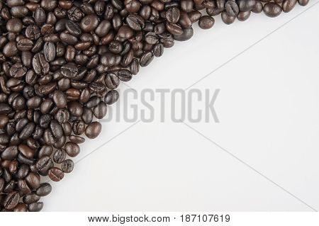 Roasted Coffee Beans Have Space On Right Use As Background