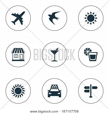 Vector Illustration Set Of Simple Beach Icons. Elements Store, Beverage, Crossroad And Other Synonyms Party, Drink And Swallow.