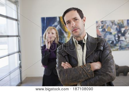 People looking at art in art gallery