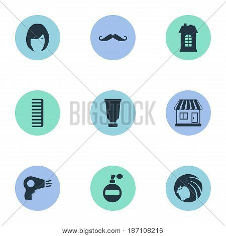 Vector Illustration Set Of Simple Hairdresser Icons. Elements Hackle, Supermarket, Aroma And Other Synonyms Machine, Store And Supermarket.