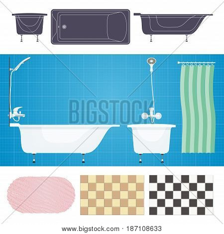 Vector illustration. Bathroom with furniture. Bathroom interior