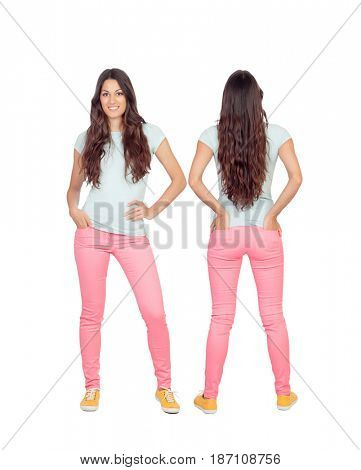 Front and back views of a teenger girl with long hair isolated on a white background