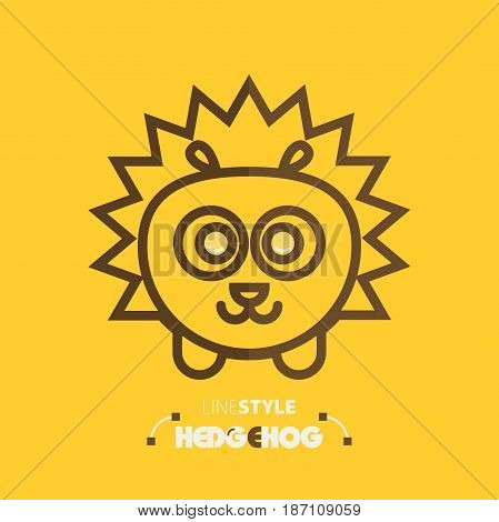 Vector illustration. line style hedgehog on yellow background