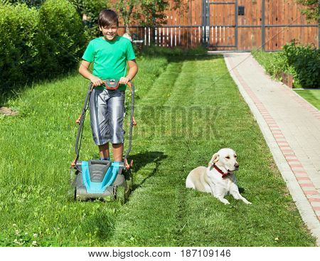 Boy pushing a lawnmower through the partially mowed yard lawn - accompanied by his lazy labrador dog