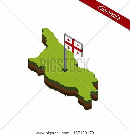 Georgia Isometric Map And Flag. Vector Illustration.