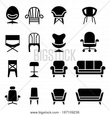 Chair icon set in front view vector illustration graphic design