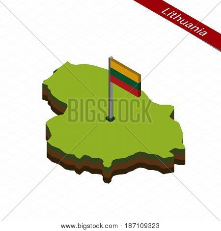 Lithuania Isometric Map And Flag. Vector Illustration.