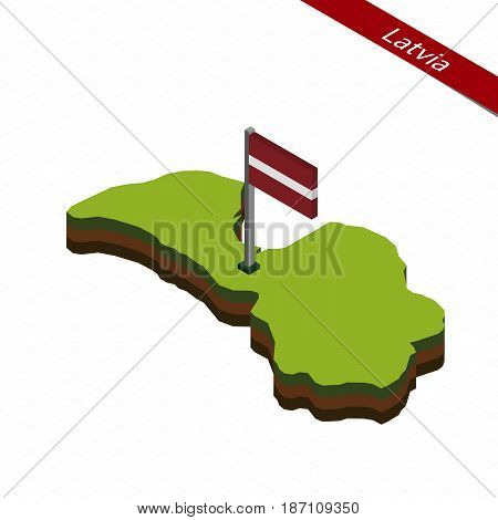 Latvia Isometric Map And Flag. Vector Illustration.