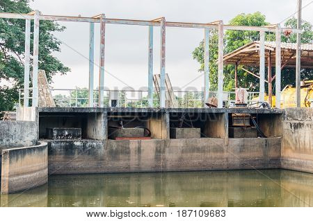 Old floodgate of the canal  in thailand.