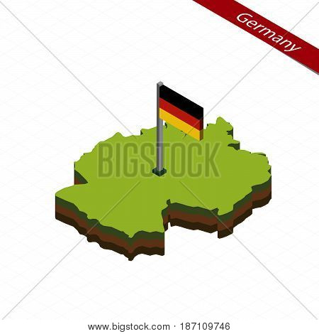 Germany Isometric Map And Flag. Vector Illustration.