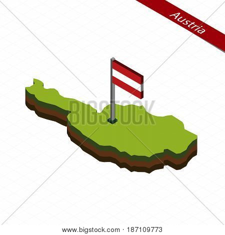 Austria Isometric Map And Flag. Vector Illustration.
