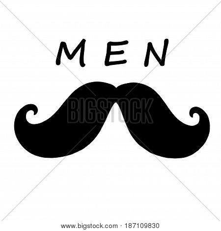 Mustache with the word men written above it