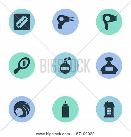 Vector Illustration Set Of Simple Barber Icons. Elements Scent, Reflector, Drying Machine And Other Synonyms Scent, Architecture And Razor.