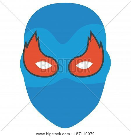 colorful silhouette of festive mask with eyes in flame vector illustration