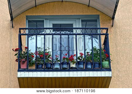 Balcony on the facade of the building with flower pots