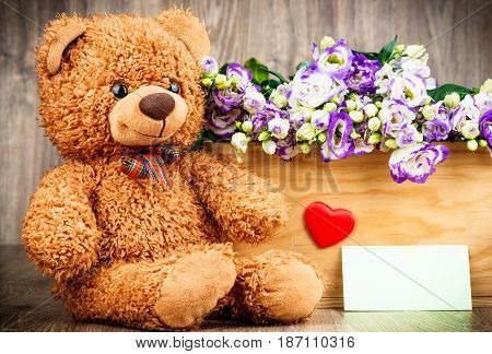 Photo of flowers in the box and a teddy bear