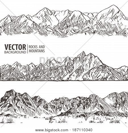 Mountains ranges. Set. Nature sketch. Spiky mountain landscape sketch hand drawing, in engraving etching style, for extreme climbing sport, adventure travel and tourism design. Vector. Panorama.