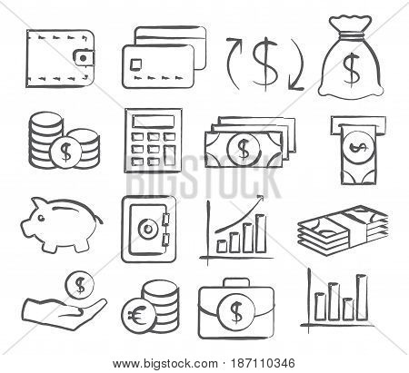 Money Icons in doodle style on white background