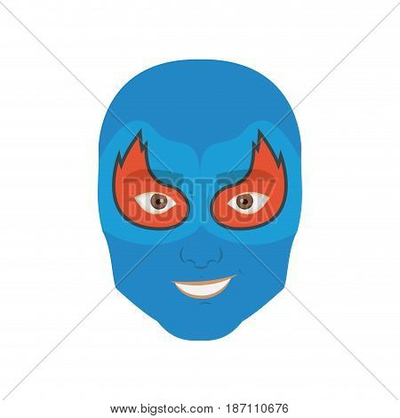 colorful silhouette with man superhero masked with mask shape of flame around the eyes and without contour vector illustration