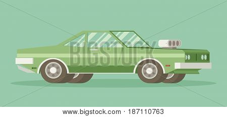 Muscle old car. Flat styled vector illustration.