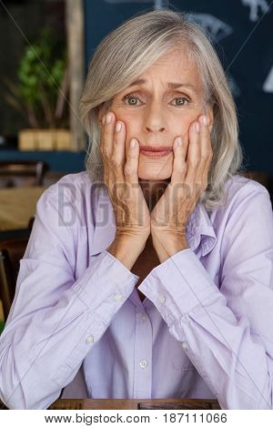 Portrait of worried senior woman at table in cafe shop