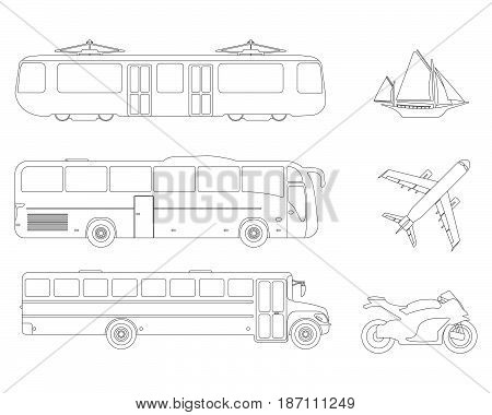 Set Of Flat Urban Transport Icon. Outline Vector Illustration
