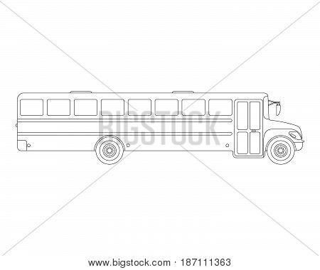 School Bus Flat Icon And Logo. Outline Vector Illustration