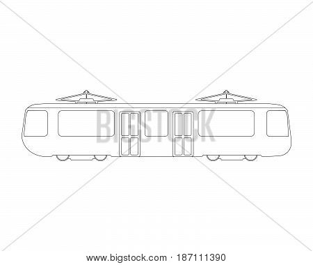 Tram Flat Icon And Logo. Outline Vector Illustration