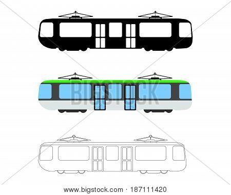 Set Of Flat Tram Icon. Cartoon, Outline, Silhouette Vector Illustration