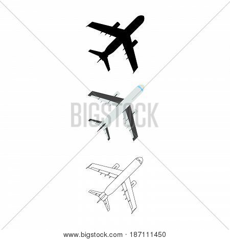 Set Of Flat Airplane Icon. Cartoon, Outline, Silhouette Vector Illustration