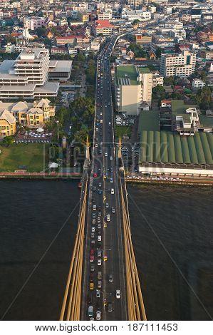 Express way cross the bridge with tilt-shift effect in Bangkok