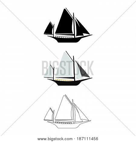 Set Of Flat Boat Icon. Cartoon, Outline, Silhouette Vector Illustration