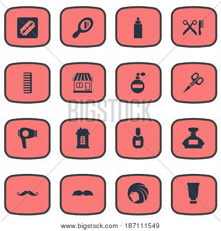 Vector Illustration Set Of Simple Barber Icons. Elements Container, Reflector, Cut Tool And Other Synonyms Hackle, Comb And Beautiful.