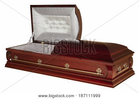 Opened wooden coffin isolated on white background