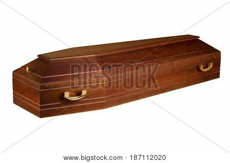 Wooden coffin isolated on white background / funeral concept