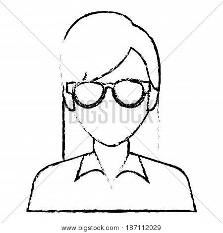 beautiful and young woman character vector illustration design