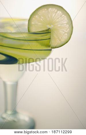 Lime slice on rim of margarita