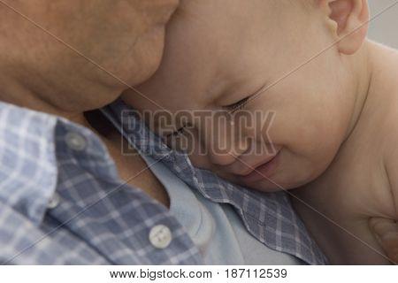 Caucasian baby boy crying