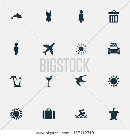 Vector Illustration Set Of Simple Beach Icons. Elements Airplane, Suitcase, Woman And Other Synonyms Mammalian, Bikini And Missus.