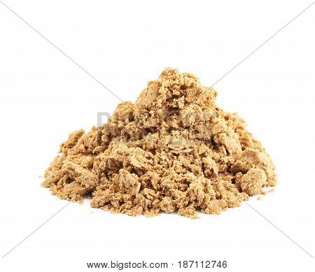 Pile of crushed and crumbled turkish halva confection, composition isolated over the white background poster