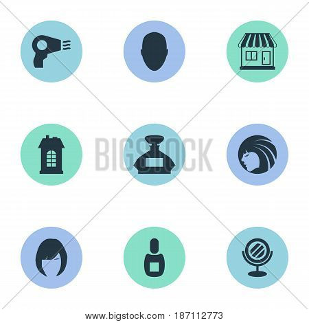 Vector Illustration Set Of Simple Beautician Icons. Elements Blow Dryer, Supermarket, Human And Other Synonyms Vial, Hair And Male.