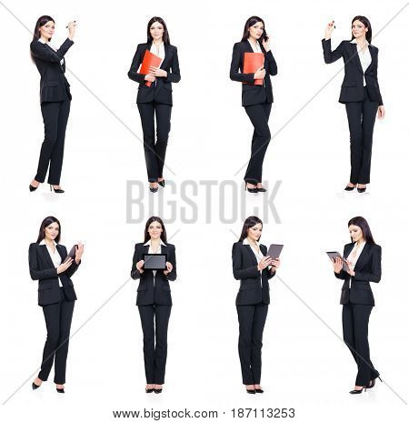 Set of beautiful, attractive businesswoman isolated on white. Business, career success concept.