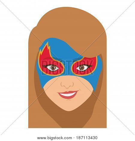 colorful silhouette with girl superhero with hair straight with mask and without contour vector illustration