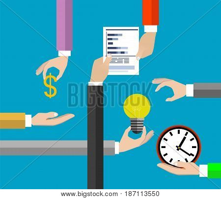 Collaboration concept. Teamwork in business, collaboration for success archive. Vector
