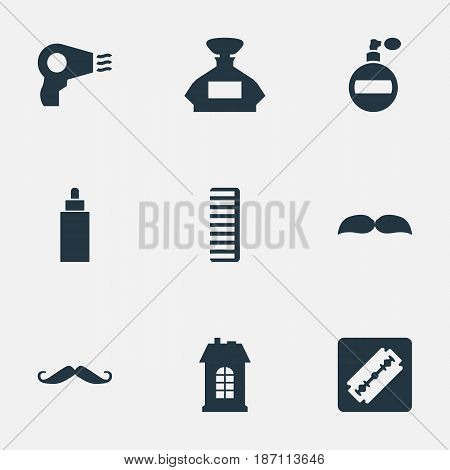 Vector Illustration Set Of Simple Barber Icons. Elements Shaver, Scent, Aroma And Other Synonyms Bottle, Aroma And Odor.