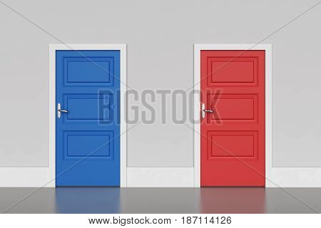 Blue and red doors concept of choice. 3D rendering