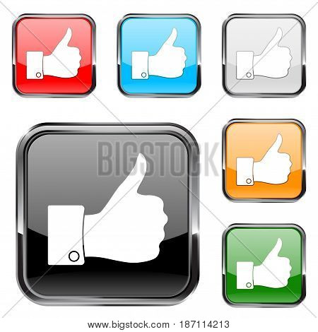 Thumb up button. Square button with chrome metal frame. Colorful set. Vector illustration isolated on white background.