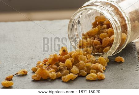 sweet raisins golden close up dry grape
